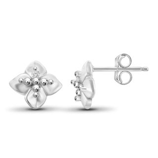 Jewelonfire Sterling Silver White Diamond Accent Clover Earrings
