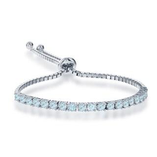 La Preciosa White Sterling Silver Multicolor Gemstone 3mm Adjustable Italian Tennis Bolo Bracelet