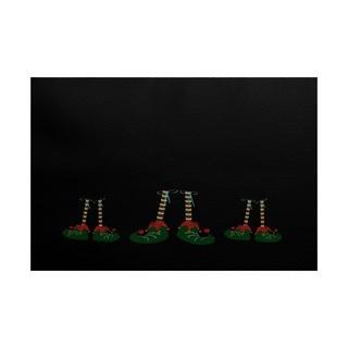 Elfin Magic Geometric Print Indoor/ Outdoor Rug (3' x 5')