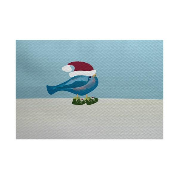 Merry Christmas Bird Animal Print Indoor/ Outdoor Rug - 3' x 5'
