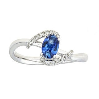 Anika and August 18k White Gold Ceylon Blue Sapphire and Diamond Oval-cut Ring