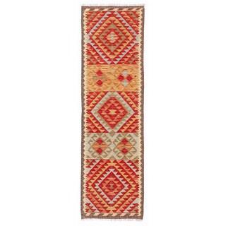 Herat Oriental Afghan Hand-woven Mimana Kilim Red/ Ivory Wool Runner (1'11 x 6'7)