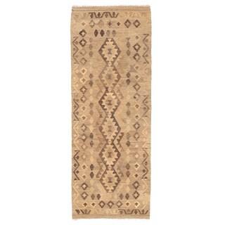 Herat Oriental Afghan Hand-woven Mimana Kilim Ivory/ Brown Wool Runner (2'3 x 6'3)