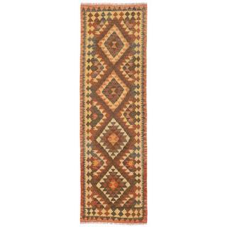 Herat Oriental Afghan Hand-woven Mimana Kilim Brown/ Gold Wool Runner (2'4 x 7'9)