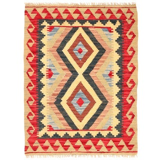 Herat Oriental Afghan Hand-woven Mimana Kilim Light Gold/ Red Wool Rug (2'9 x 3'8)