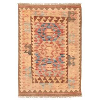 Herat Oriental Afghan Hand-woven Wool Mimana Kilim (2'9 x 4')