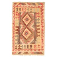 Handmade Herat Oriental Afghan Wool Mimana Kilim  - 2'6 x 4' (Afghanistan)