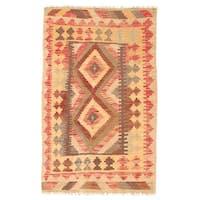 Herat Oriental Afghan Hand-woven Wool Mimana Kilim - 2'6 x 4'