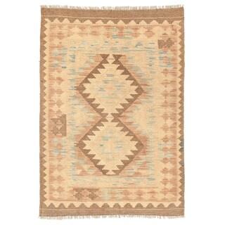 Herat Oriental Afghan Hand-woven Mimana Kilim Wool Rug (2'8 x 3'11)