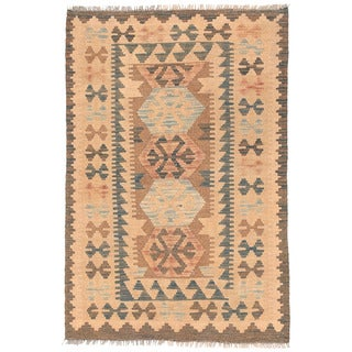 Herat Oriental Afghan Hand-woven Wool Mimana Kilim (2'8 x 4'1)
