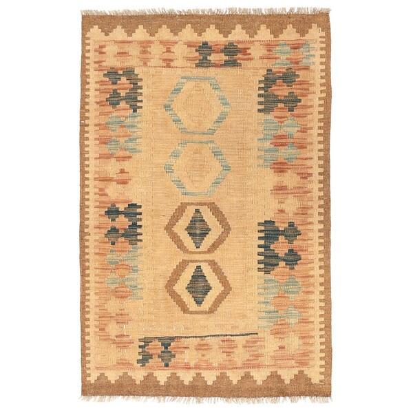 Handmade Herat Oriental Afghan Wool Mimana Kilim (Afghanistan) - 2'6 x 3'10