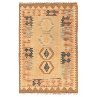 Herat Oriental Afghan Hand-woven Mimana Kilim Ivory/ Tan Wool Rug (2'6 x 3'10)