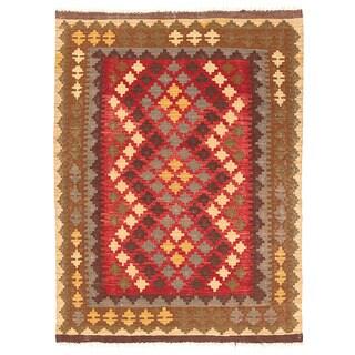Herat Oriental Afghan Hand-woven Wool Mimana Kilim (2'11 x 4'1)
