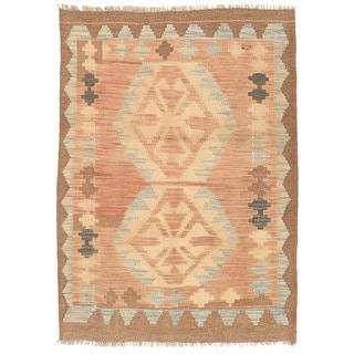 Herat Oriental Afghan Hand-woven Mimana Kilim Tan/ Light Blue Wool Rug (2'11 x 4'2)