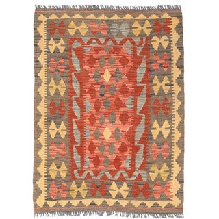 Herat Oriental Afghan Hand-woven Mimana Kilim Red/ Gold Wool Rug (2'10 x 3'10)