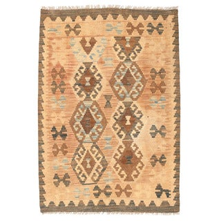 Herat Oriental Afghan Hand-woven Mimana Kilim Tan/ Light Blue Wool Rug (2'9 x 4'1)