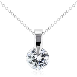 Annello 14k White Gold 1/2ct Round Diamond Solitaire Necklace (H-I, I1-I2)