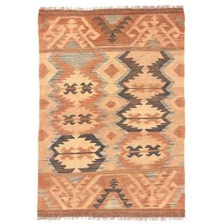 Herat Oriental Afghan Hand-woven Wool Mimana Kilim (2'10 x 4'2)