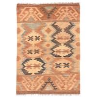 Herat Oriental Afghan Hand-woven Wool Mimana Kilim - 2'10 x 4'2