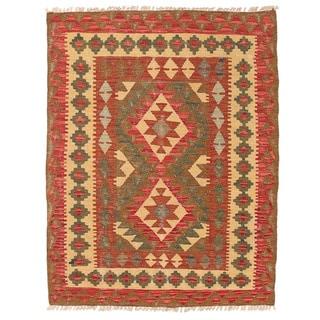 Herat Oriental Afghan Hand-woven Wool Mimana Kilim (2'10 x 3'8)