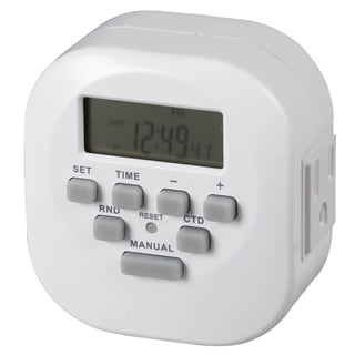 "Amertac TE06WHB 3.12"" X 3.1"" X 2.1"" Indoor 2 Outlet Weekly Digital Timer"