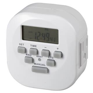 """Amertac TE06WHB 3.12"""" X 3.1"""" X 2.1"""" Indoor 2 Outlet Weekly Digital Timer