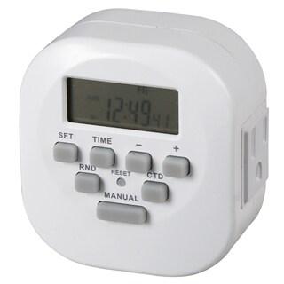"Amertac TE06WHB 3.12"" X 3.1"" X 2.1"" Indoor 2 Outlet Weekly Digital Timer"