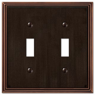 Amertac 77TTDB 2 Toggle Aged Bronze Cast Metal Wallplate