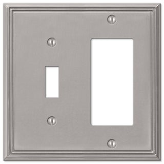 Amertac 77TRBN 1 Toggle Brushed Nickel Cast Metal Wallplate