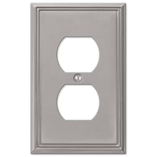 Amertac 77DBN 1 Duplex Brushed Nickel Cast Metal Wallplate