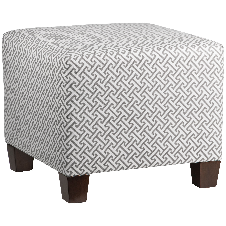 Skyline Grey Cotton, Wood Square Ottoman (Charcoal), Size...