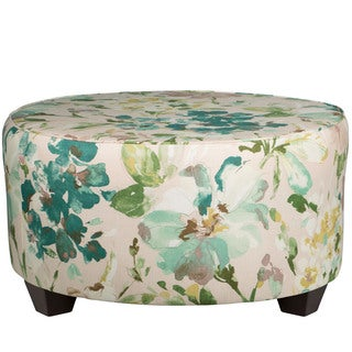 Skyline Furniture Blue/Green Linen Round Cocktail Ottoman