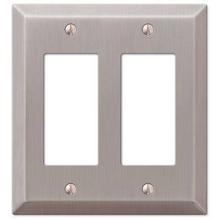 Amertac 163RRBN 2 Rocker Brushed Nickel Steel Wallplate