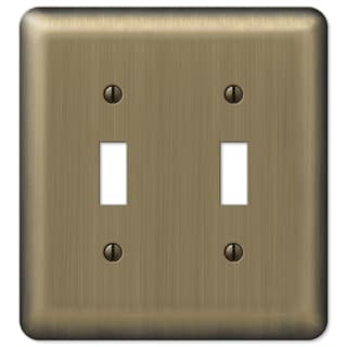 Amertac 154TT 2 Toggle Round Corner Brushed Brass Steel Wallplate