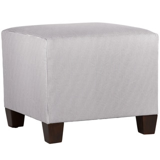 Skyline Furniture Charcoal/White Oxford-striped Square Ottoman