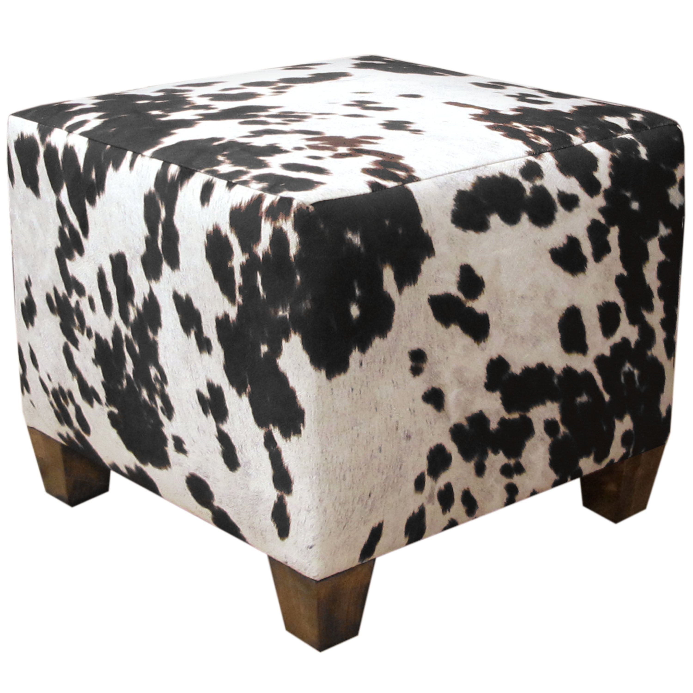 Skyline Domino Animal Print Fabric Ottoman (Domino), Blac...