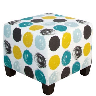 Skyline Furniture Peacock Brushed-dot Square Ottoman