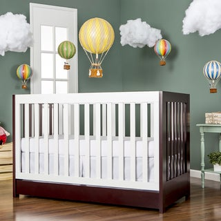 Dream On Me Milano Brown/White Wood 5-in-1 Convertible Crib