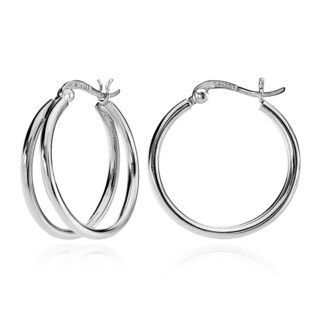 Mondevio Silver Double Hoop Earrings