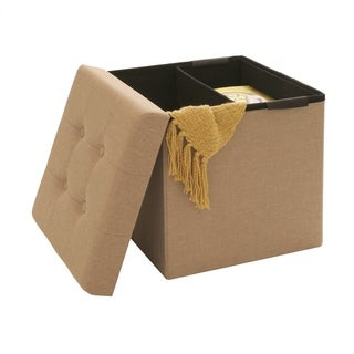 Seville Classics Beige Polyester Foldable Storage Cube and Ottoman