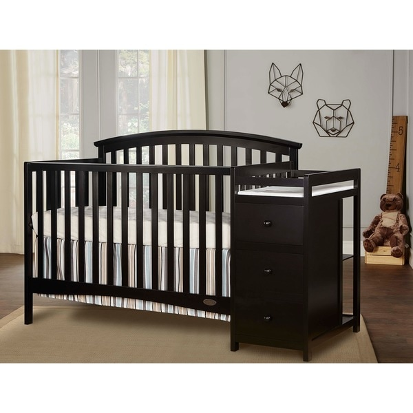 Dream On Me Niko, 5 in 1 Convertible Crib with Changer. Opens flyout.