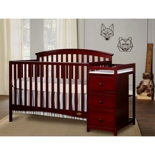 Dream on Me Niko Cherry Wood 5-in-1 Convertible Crib With Changer