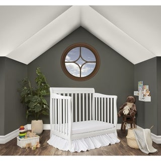 Dream On Me Aden White Wood Convertible 4-in-1 Mini Crib