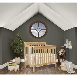 Dream On Me Aden Natural-finish Wood 4-in-1 Convertible Mini Crib