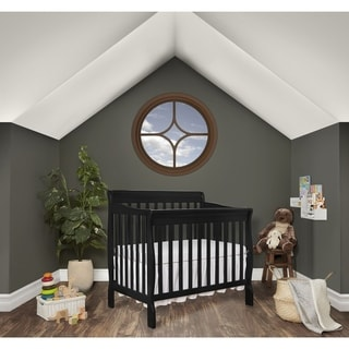 Dream On Me Aden Black Wood Convertible 4-in-1 Mini Crib
