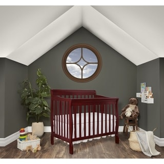 Dream On Me Aden Cherry Wood Convertible 4-in-1 Mini Crib