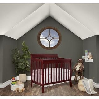Dream On Me Aden Cherry Wood Convertible 4-in-1 Mini Crib