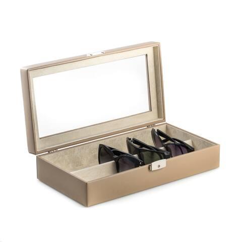 Taupe Leather Multiple Eyeglass Storage Case