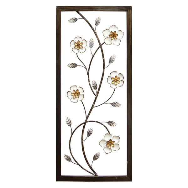 Stratton home decor white metal blooming floral panel wall for Home decor items on sale