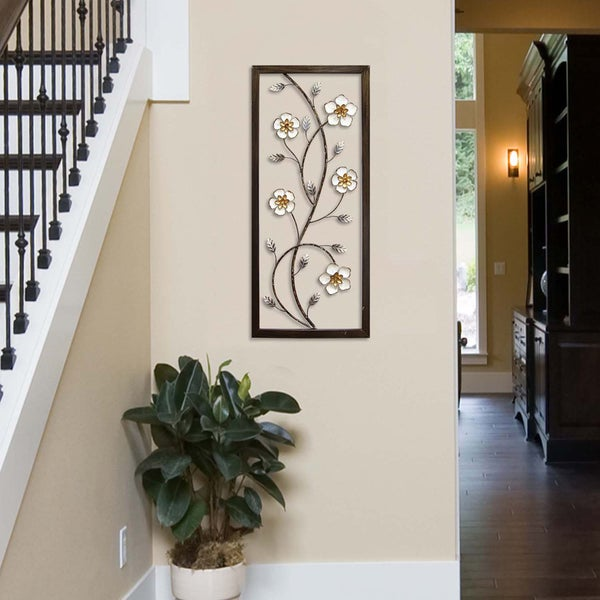 Shop Stratton Home Decor White Metal Blooming Floral Panel